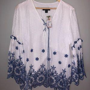 Karen Kane boho chic top shirt NWT large